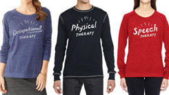 man and women wearing therapy shirts